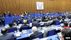 A file photo of an IAEA board of governors meeting in Vienna