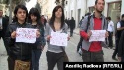 Ադրբեջան - Բողոքի ցույցը Բաքվի կենտրոնում, 17-ը ապրիլի, 2011թ.