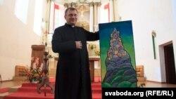 Ксёндз Сяргей Сурыновіч зкарцінай Лявона Вольскага, перададзенай аўтарам