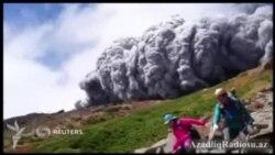 Ölümün caynağından çıxmaq belə olur (Ontake vulkanından dramatik görüntülər)