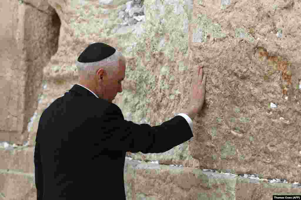 U.S. Vice President Mike Pence visited Jerusalem's Western Wall on January 23. Pence reaffirmed U.S. President Donald Trump's December 6 declaration of Jerusalem as Israel's capital and pledged to move the embassy to the disputed city by the end of 2019. (AFP/Thomas Coex)