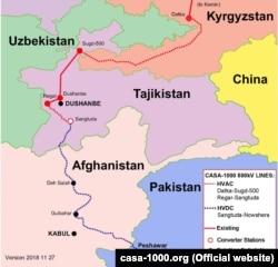 Карта проекта CASA-1000.