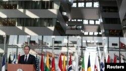Американскиот државен секретар Антони Блинкен во седиштето на НАТО во Брисел, 24.03.2021.