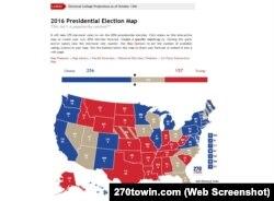 Карта підтримки Гілларі Клінтон та Дональда Трампа по штатах