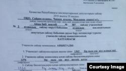 Фрагмент протокола итогов голосования на избирательном участке №587.
