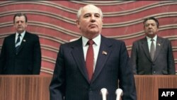 Soviet Union -- The first Soviet President Mikhail Gorbachev poses solemnly as he takes the oath at the Congress of Deputies, Moscow, 15Mar1990