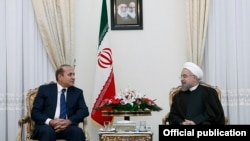 Iran - President Hassan Rouhani meets with Armenian Prime Minister Hovik Abrahamian, Tehran, 20Oct2014.