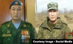 """Один и тот же военный – слева в форме российской армии, справа – в камуфляже с шевроном """"Новороссии"""""""