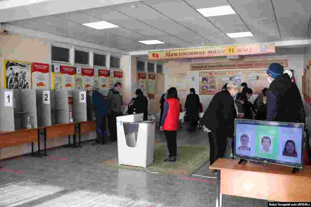 Бишкек шаарындагы шайлоо бекеттеринин бири.