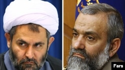 Outgoing Basij commander Hossein Taeb (left) and his replacement, Mohammad Reza Naqdi
