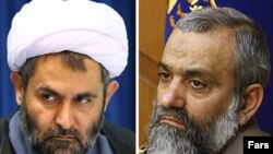 Outgoing Basij commander Hossein Taeb (left) and his replacement, Mohammad Reza Naqdi