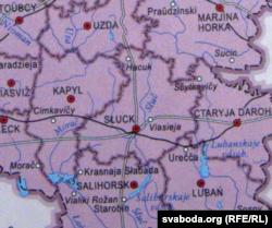 Мапа Менскай вобласьці ў даведніку (Старыя Дарогі напісаныя з памылкай)