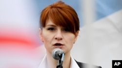 Maria Butina speaking at a rally in support of the legalization of handguns in Moscow in 2013