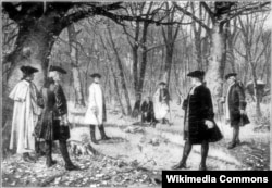 Дуэль между секретарем Казначейства США Александром Гамильтоном и вице-президентом Аароном Берром, 1804 год.
