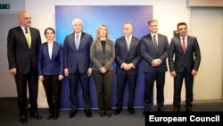 EU foreign policy chief Federica Mogherini (center) meets with the prime ministers of the Western Balkans in Brussels on December 18.