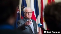 Russian Ambassador to the United Nations Vitaly Churkin rejected documentation in a UN report of chemical attacks by the Syrian regime, and said no sanctions were called for.