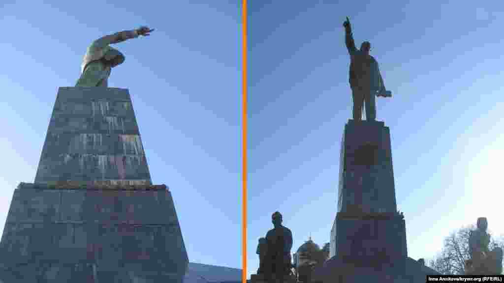 Памятник Ленину в Севастополе на вершине центрального холма – вероятно, единственный, включающий собственную скульптурную группу: рабочих, солдат и матросов.