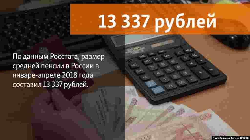 10.07.2018 //По данным Росстата, размер средней пенсии в России в январе-апреле 2018 года составил 13 337 рублей.
