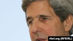 Senator John Kerry speaks to RFE/RL's Radio Free Afghanistan in Kabul.