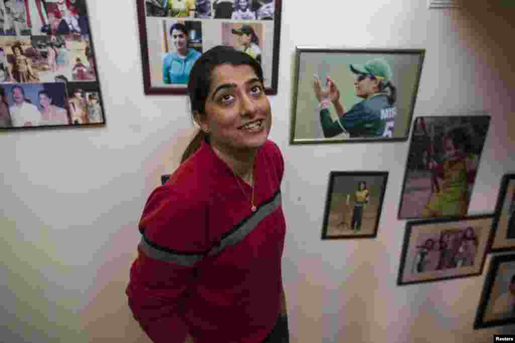 Sana Mir, the captain of Pakistan's women's cricket team, at her home in Lahore. Mir was enrolled in a university engineering program, but left to pursue her passion for cricket.