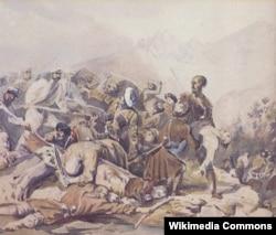 Valerik savaşından epizod. Lermontovun karandaşla çəkdiyi rəsmi Q.Qaqarin rəngləyib. 1840