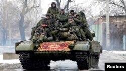 Separatişti pro-ruşi la Doneţk, 22 ianuarie 2015