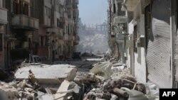 Një lagje tërësisht e shkatërruar e Homsit, në pjesën qëndrore të Sirisë