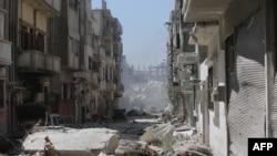 Pamje nga shkatërrimet nga lufta në qytetin Homs në Siri