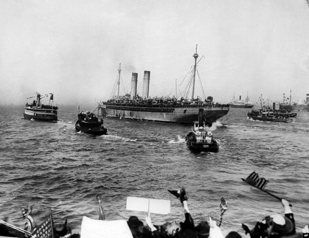 69-я дивизия армии США возвращается домой после Первой мировой войны.
