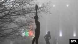 Снимката е направена на 26 ноември в центъра на София