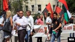 Протести пред заедничката седница во на премиерите на Македонија и Бугарија, Никола Груевски и Пламен Орешарски, Ќустендил, Бугарија.