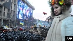 """Падчас акцыяў пратэсту і сутычак зь """"Беркутам"""". Кіеў, 11 сьнежня 2013"""