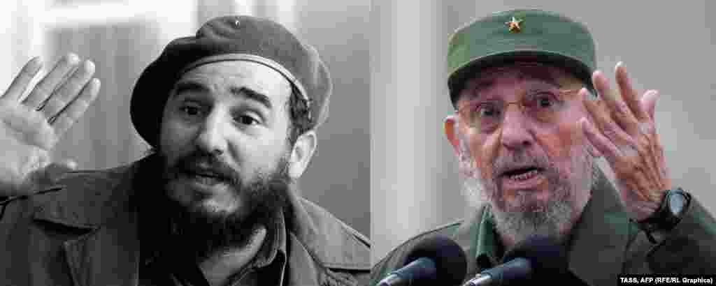 Бывший лидер Кубы Фидель Кастро в 1961-м (слева) и в 2010 году.