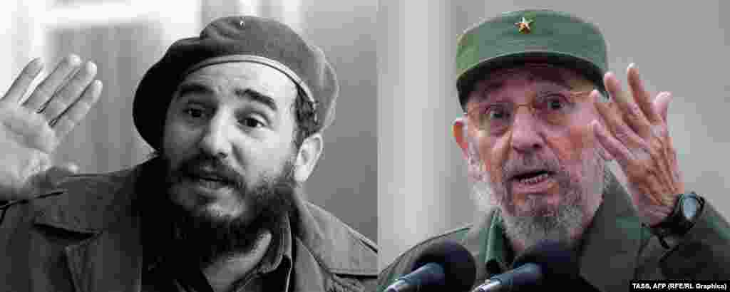Former Cuban leader Fidel Castro in 1961 (left) and 2010.
