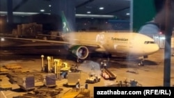 """Самолет """"Туркменских авиалиний"""", Пекин, 3 февраля, 2020"""