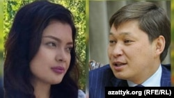 Journalist Elnura Alkanova (left) and Prime Minister Sapar Isakov (combo photo)