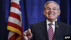 Senator Robert Menendez speaks in Newark, New Jersey, on April 1