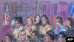 A courtroom drawing of the 10 spies in a New York courtroom on July 8