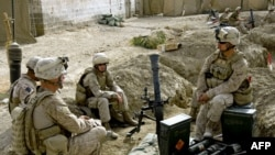 U.S. Marines at a forward operating base in Mian Poshteh in Afghanistan's Helmand Province