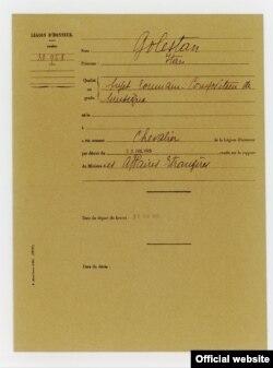 Pagină din dosarul de acordare a Legiunii de Onoare (Foto: Archives Nationales de France)