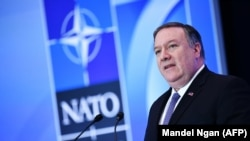 U.S. Secretary of State Mike Pompeo speaks at a press conference during the NATO Foreign Ministers Meeting at the State Department in Washington, April 4, 2019