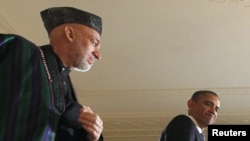 Presidenti amerikan Barack Obama dhe homologu i tij afgan, Hamid Karzai, Uashington, 11 janar, 2013.