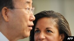 United Nations Secretary-General Ban Ki-moon with Susan Rice, U.S. ambassador to the UN