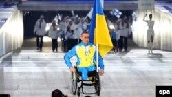 Михайло Ткаченко – один за всю Україну на церемонії відкриття Паралімпійських ігор, Сочі, 7 березня 2014 року