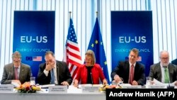 BELGIUM -- (L-R) U.S. Energy Secretary Rick Perry, U.S. Secretary of State Mike Pompeo, EU foreign policy chief Federica Mogherini, EU Commission Member Miguel Arias Canete and EU Commission Vice President Maros Sefcovic. File photo