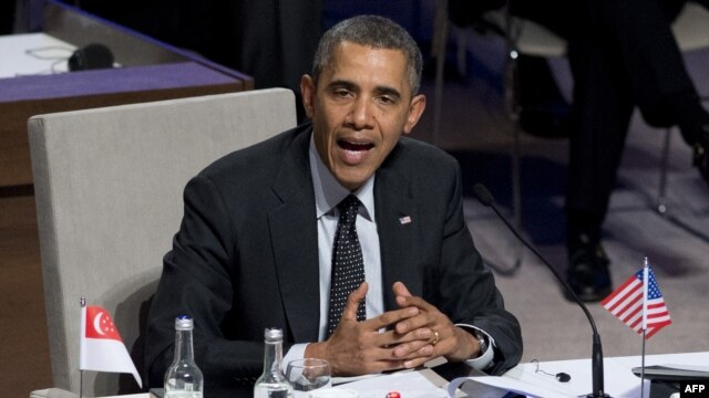 "U.S. President Barack Obama syas Russia's actions in Ukraine a sign of ""weakness."""