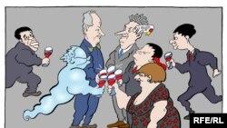 """Karikatura """"Slavljenici"""" Predraga Koraksića Coraxa"""