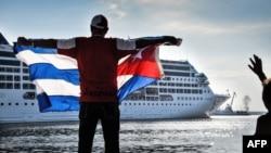 Прибытие американского круизного лайнера в порт Гаваны, 2 мая 2016 года.