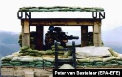 A Dutch UN post on the perimeter of Srebrenica