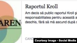 Pagina de FB a speakerului Andrian Candu despre publicarea primului raport Kroll